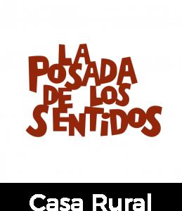 Logo de la Casa Rural La Posada de los Sentidos en Fondo Blanco y letras Rojas realizado por Javier Mariscal diseñador Valenciano. Alojamiento con encanto en Jarandilla de la Vera en el norte de extremadura en la provincia de Cáceres en la comarca de Vera.